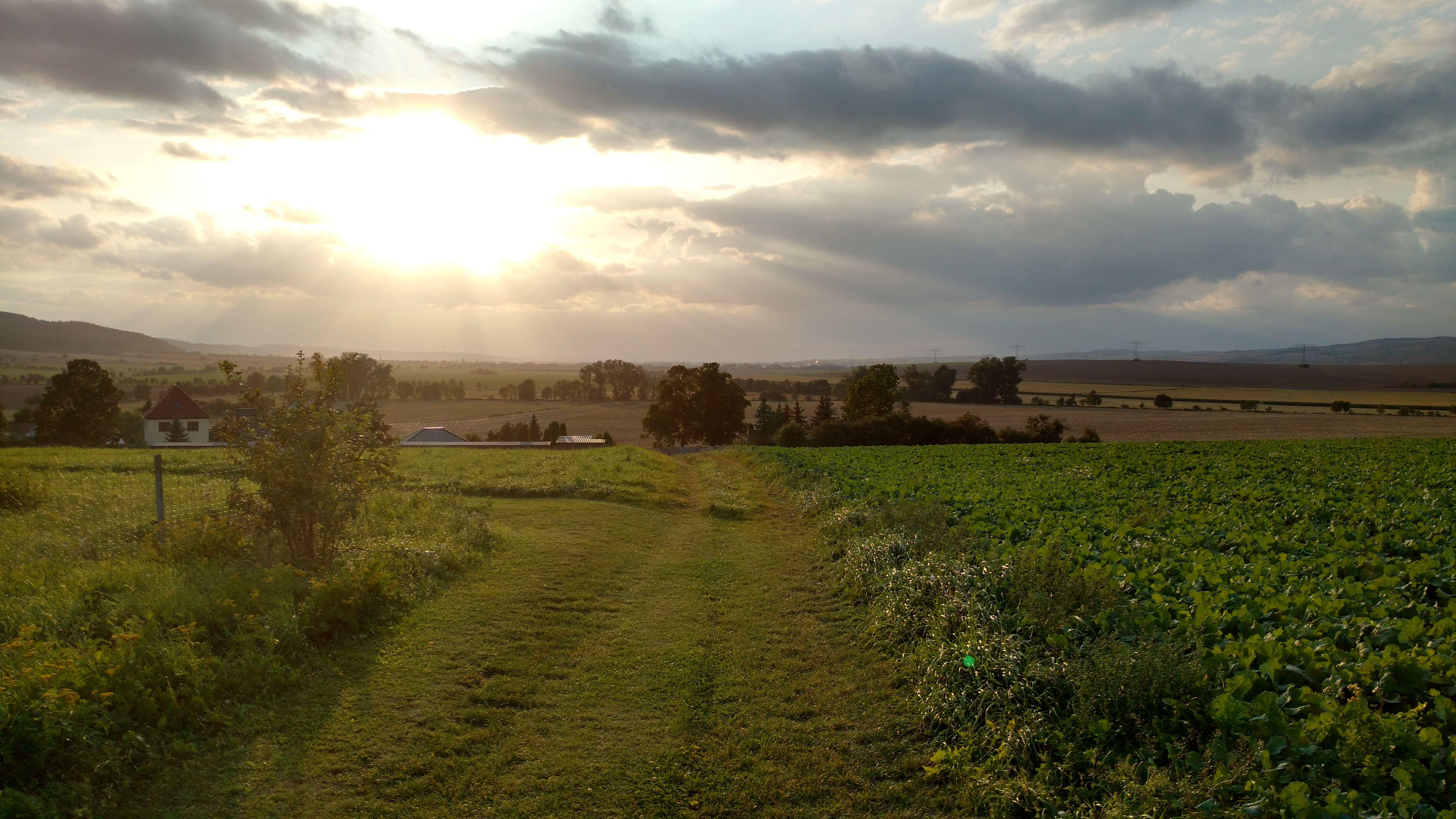Sonnenuntergang im Westen über Kelbra
